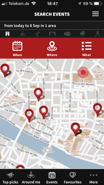 Screenshot der Firenze Turismo App. Ein Stadtplan zeigt mit Stecknadeln den nächsten Florenz Tipp an