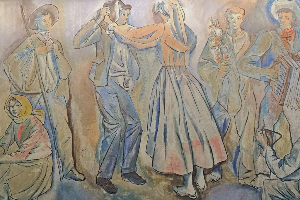 Ab aufs Land: Dorfkultur made in Portugal – Ausschnitt aus der Wanddekoration des Museums, die – ganz im Sinne des Salazar-Regimes – volkstümliche Szenen aus den verschiedenen Regionen Portugals.