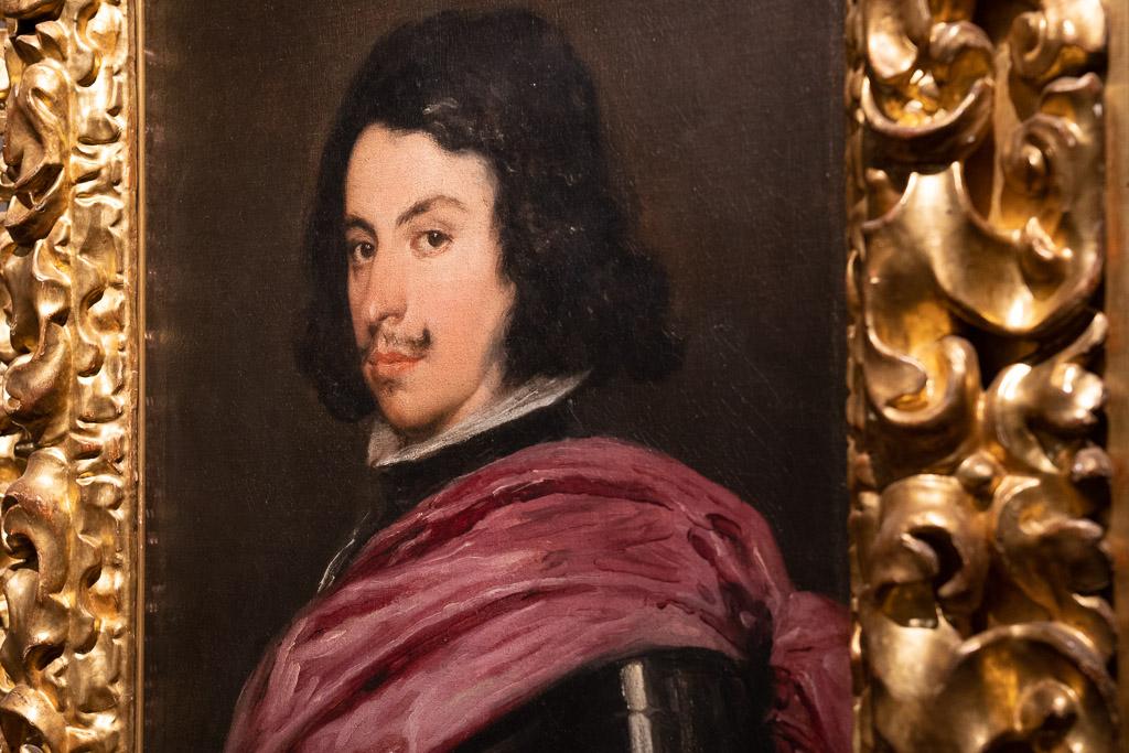 Porträt des Herzog von Modena von Velasquez vor einem braunen Hintergrund porträtiert.