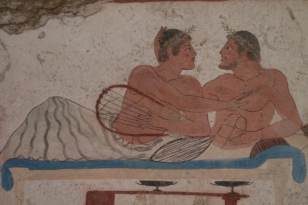 Malerei aus dem Grab Tauchers im Museum von Paestum.