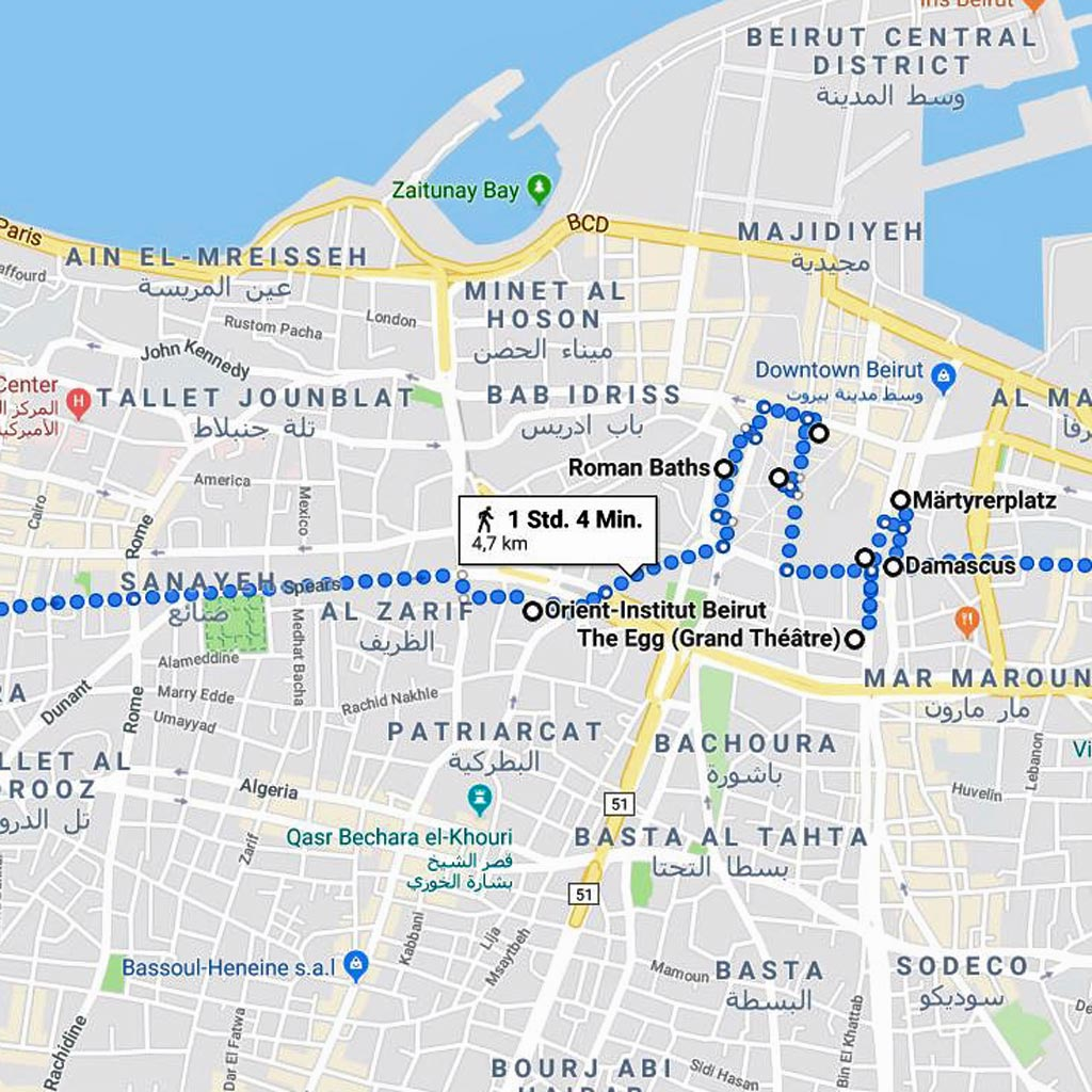 Der Stadtspaziergang misst auf Google Maps 4,7 Kilometer.