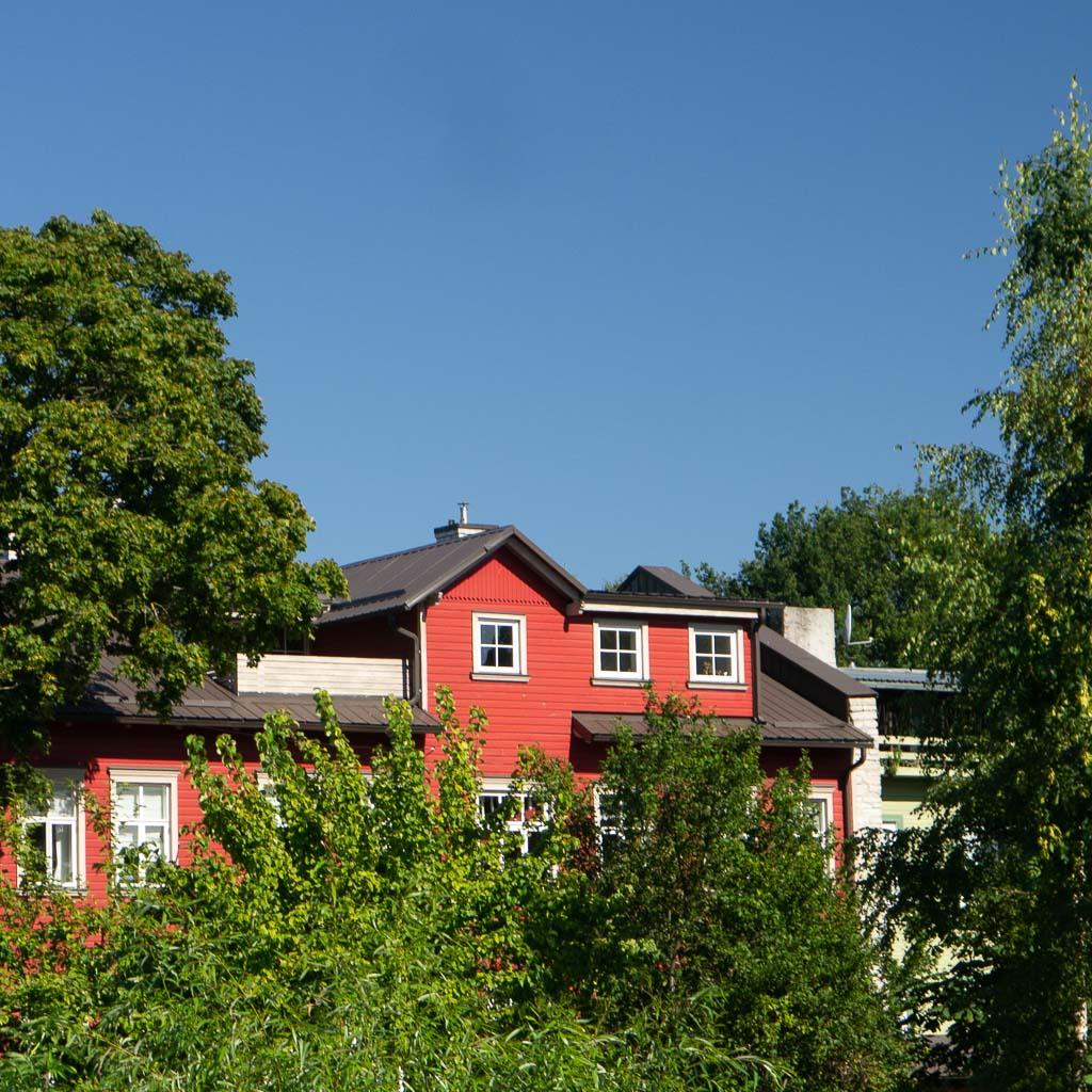 Das Bild zum Tallinn Tipp Kalamaja Viertel zeigt ein rotes Holzhaus, das von grünen Büschen und Bäumen umwachsen ist. Der Himmel ist blau und wolkenlos.