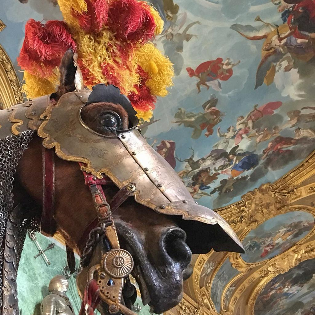 Der Kopf eines ausgestopften Pferdes mit einem Federbusch, darüber eine mit Engeln bemalte Decke, Saal im Turin Tipp Palazzo Reale.