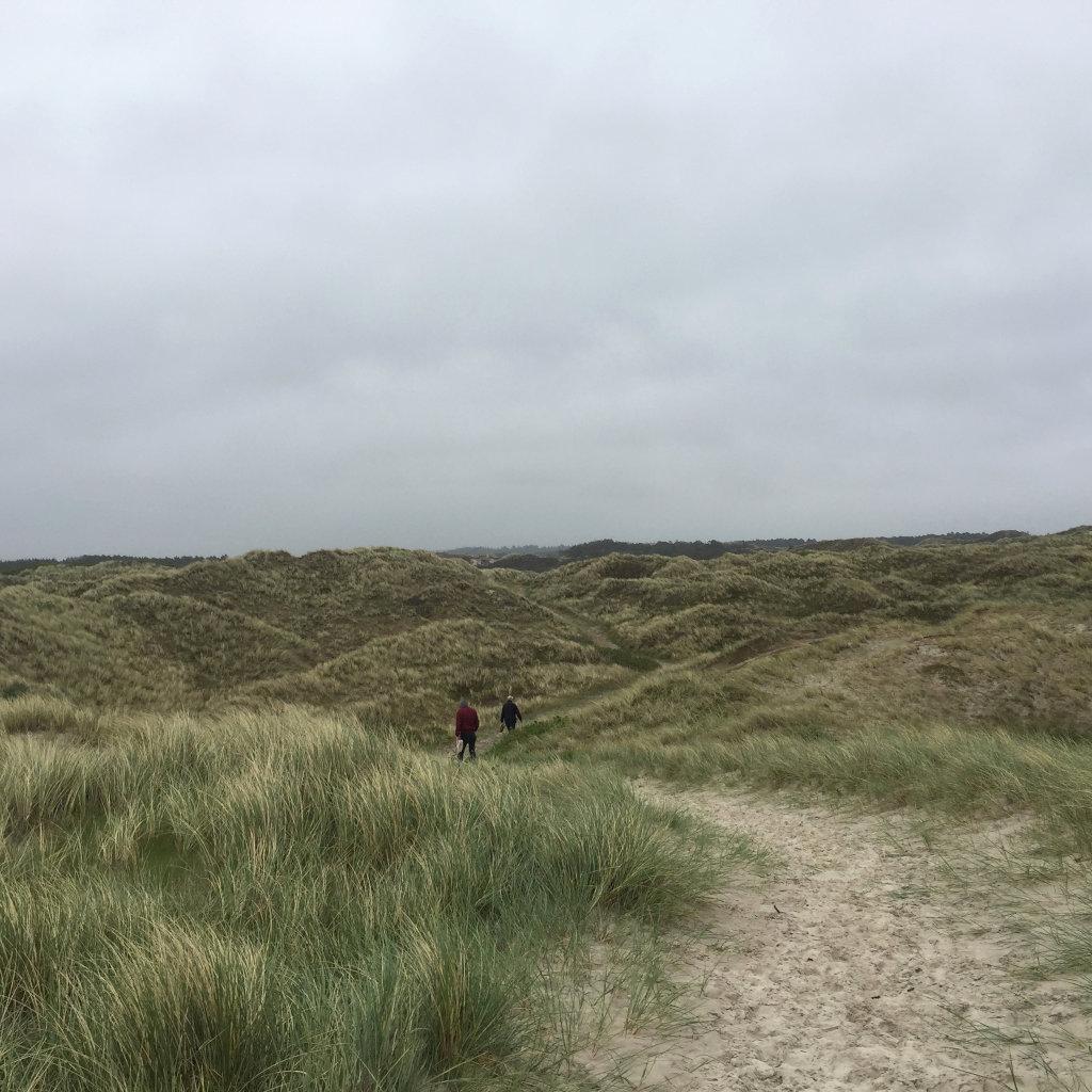 Ein Weg in einer Dünenlandschaft. Mitten auf dem Weg in der Bildmitte sieht man zwei Gestalten, die durch die endlos scheinenden dünengrasbewachsenen Hügel wandern.