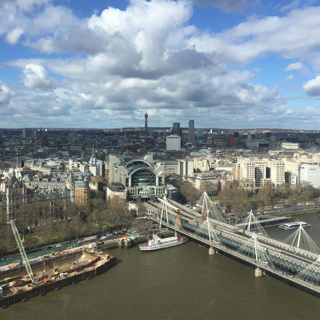 Blick auf London von oben, aus dem Riesenrad London Eye.