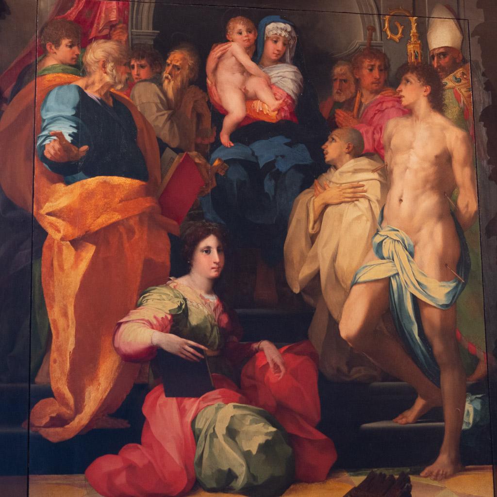 Madonna mit Heiligen, Gemälde von Rosso Fiorentino in der Galleria Palatina.