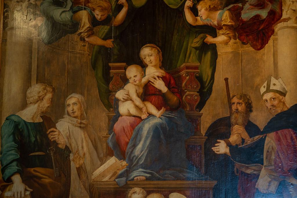 Mutter Maria mit dem Kind. Gemälde von Raffael Sanzio.
