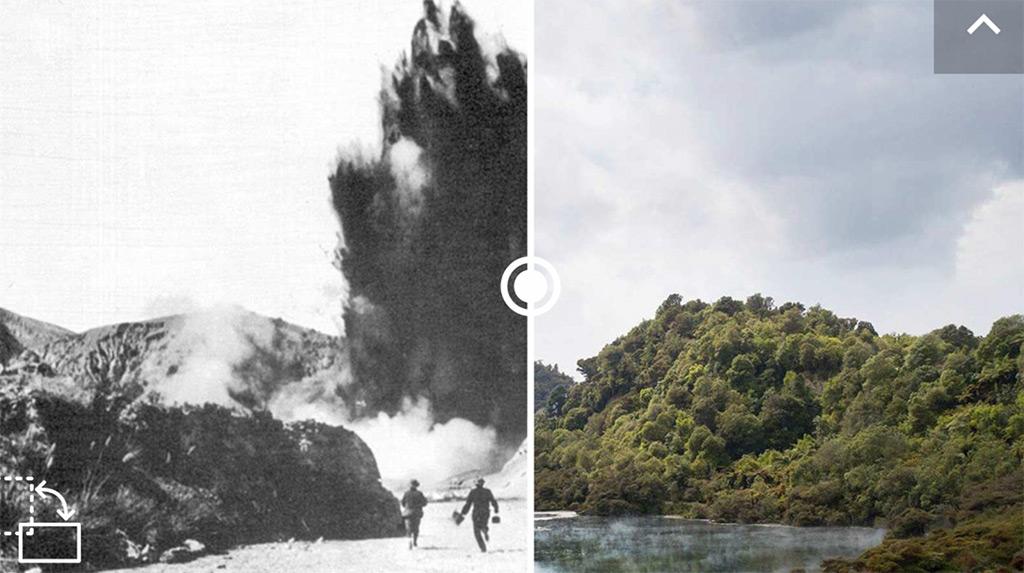 Ausbruch des Waimangu Geysirs in Neuseeland.