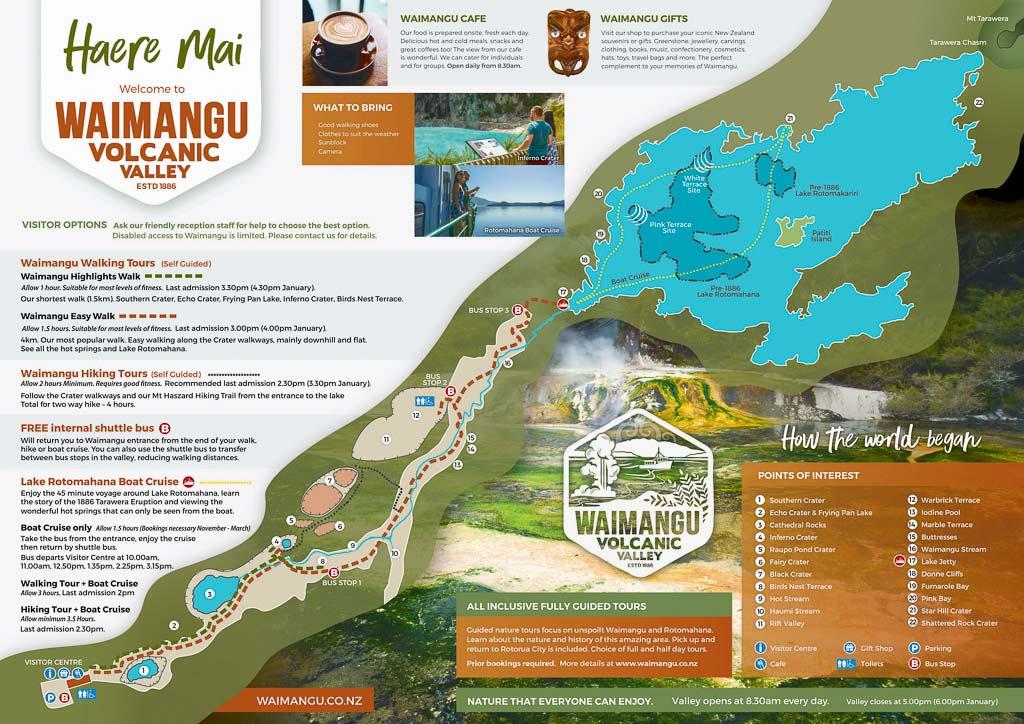 Karte des Waimangu Volcanic Valleys mit Wanderwegen.