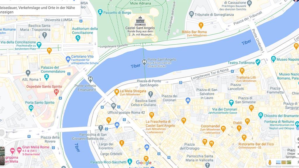 Screenshot Google Maps mit Tiber und Engelsburg.