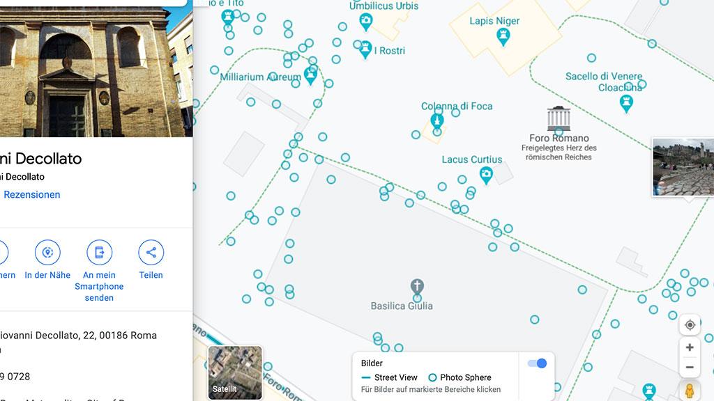 Screenshot von Google Maps mit dem Forum Romanum.