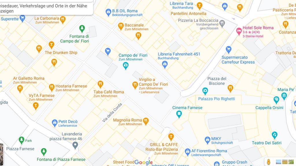 Screenshot mit Karte von Rom.