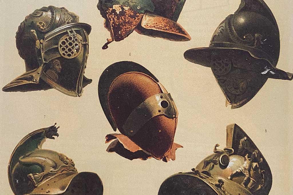 Zeichnung von Gladiatoren Helmen aus den Nationalmuseum Neapel.