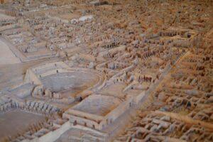 Modell der Ausgrabungen von Pompeji.