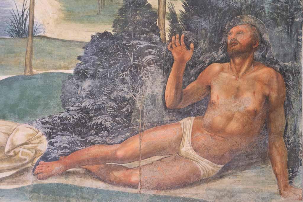 Sodoma Fresko im Kreuzgang der Abazzia Monte Oliveto Maggiore.