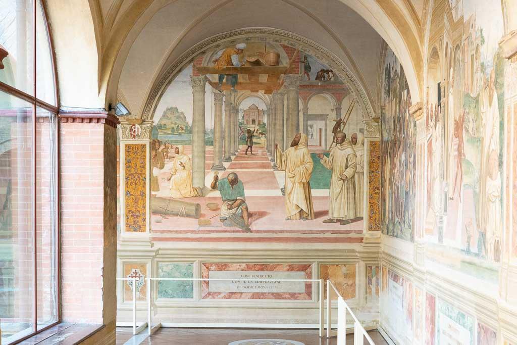Fresko von Sodoma in der Abtei Monte Oliveto Maggiore.