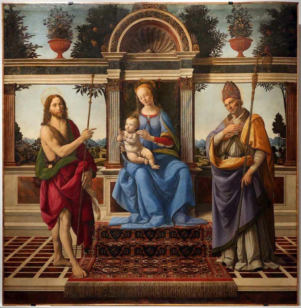 Andrea Verrocchio, Gemälde der Mutter Maria mit Heiligen.