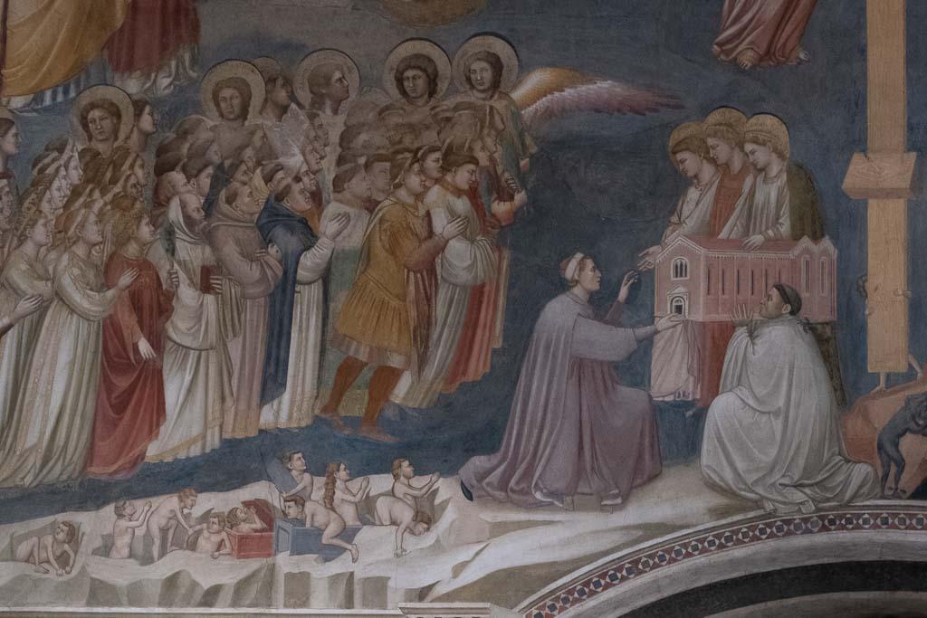 Detail von Giottos jüngstem Gericht in der Scrovegni Kapelle.
