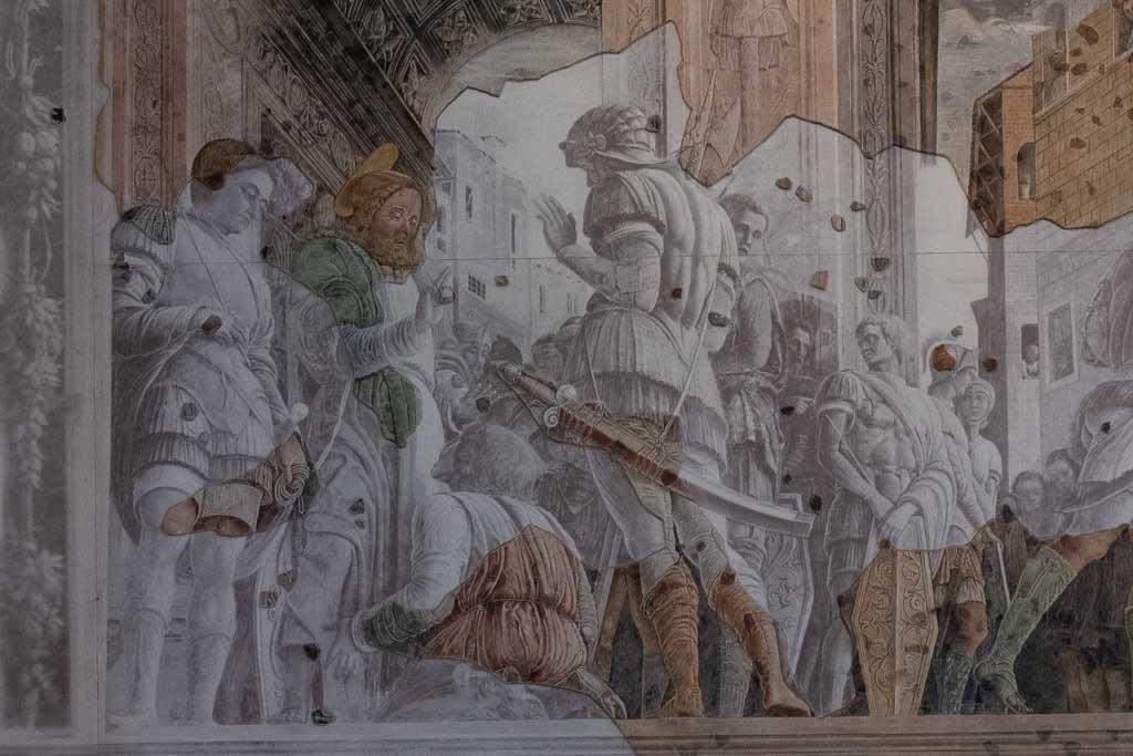 Zerstörtes und rekonstruiertes Fresko Andrea Mantegnas in Padua.