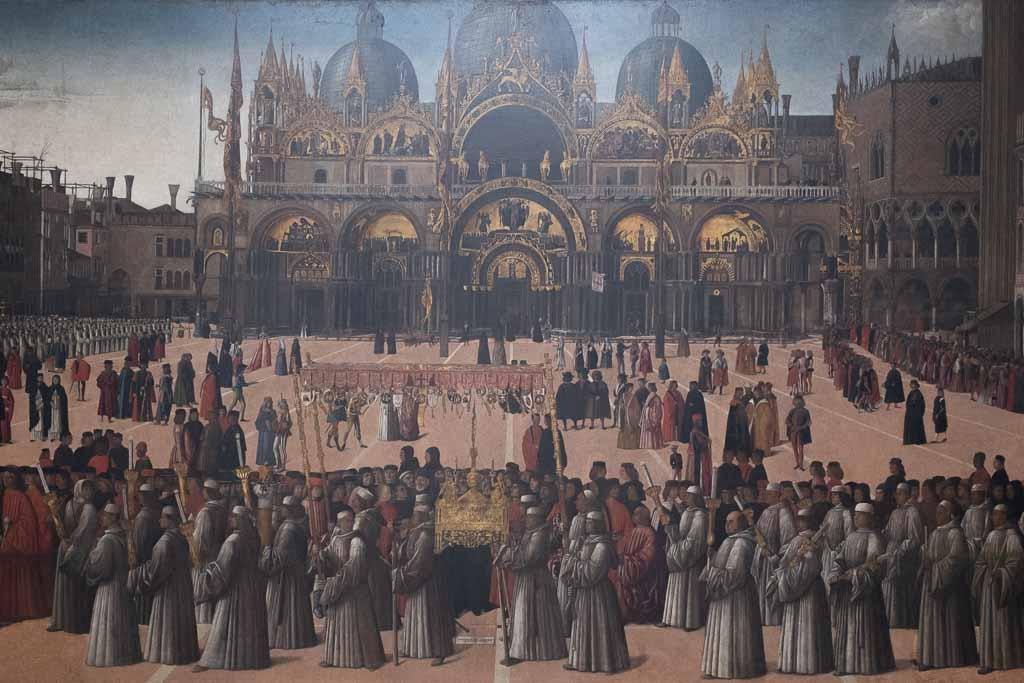 Der Markusplatz in Venedig in einem Gemälde von Bellini