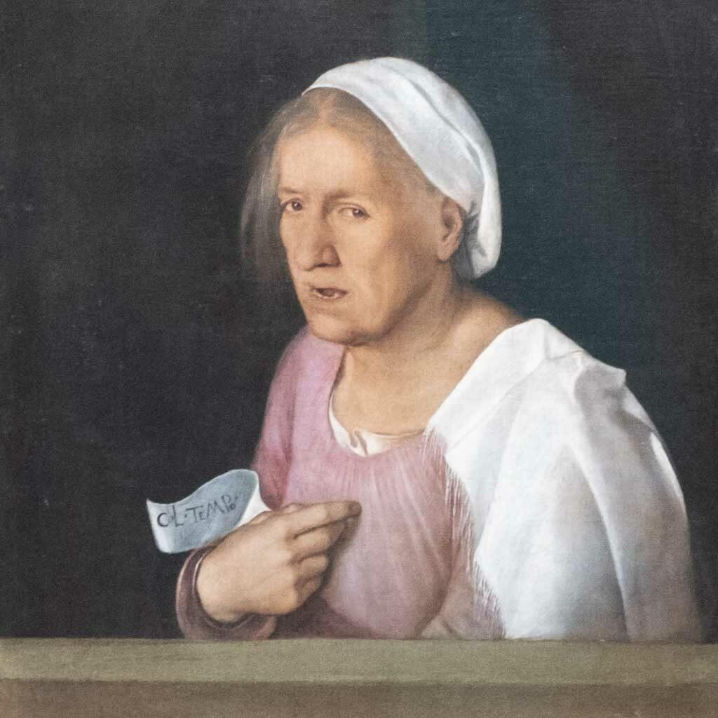 Porträt einer alten Frau von Giorgione in der Gemäldegalerie von Venedig.