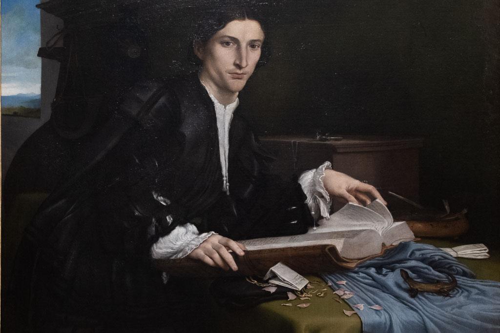 Porträt eines Gelehrten von Lorenzo Lotto in der Galleria dell' Accademia in Venedig.